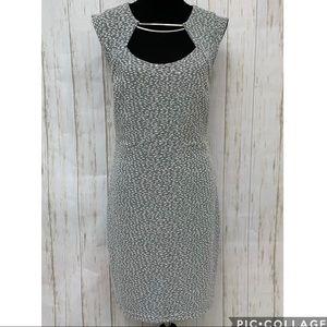 Bebe white gray & silver semi formal dress - sz L
